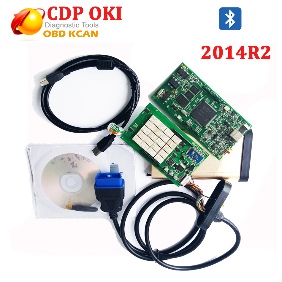 TCS CDP With OKI Chip Bluetooth CDP Pro Plus 2014 R2 Keygen OBDII Diagnostic Tool For Cars&Trucks Tcs Scanner MVDIAG NEW VCI new arrival new vci cdp with best chip pcb board 3 0 version vd tcs cdp pro plus bluetooth for obd2 obdii cars and trucks