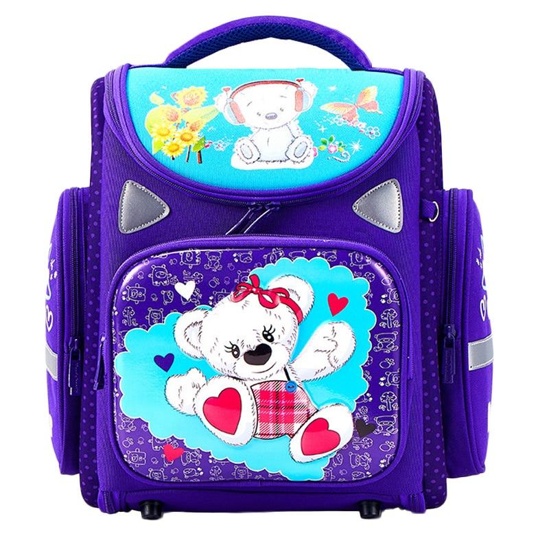 2019 Cartoon School Bags Orthopedic School Backpacks for Girls Boys Bear Tank Car Pattern Backpack Student