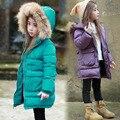 Vinda nova Jaqueta de Inverno Para As Meninas Casaco de Inverno Para Baixo Casacos de Inverno das Crianças Casaco De Pele Capuz Parka Crianças Outerwear de Espessura