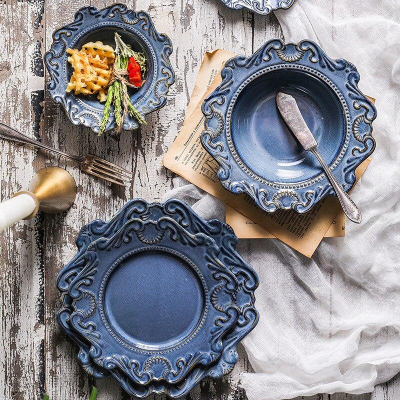 Ceramic Dessert Plate Dinner Tray Soup Bowl Nordic Palace Dinnerware Dish Retro Noodle Bowl Relievo Cutlery