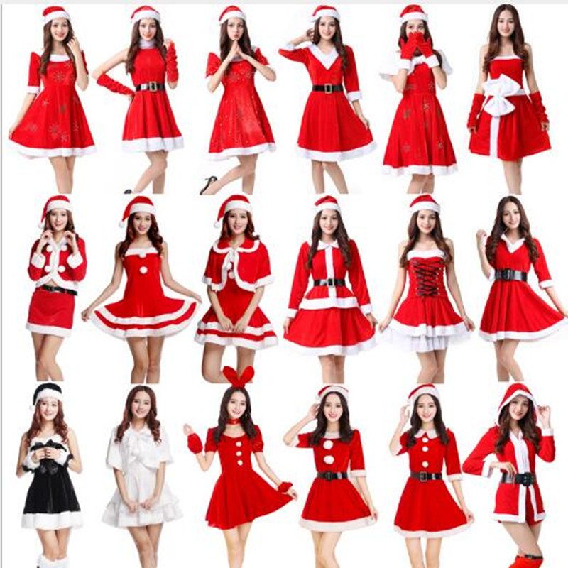 Ladies New Christmas Sexy Dresses Dresses Girls Fashion Red Tops Hats Costumes Halloween Cosplay Set Party Dresses