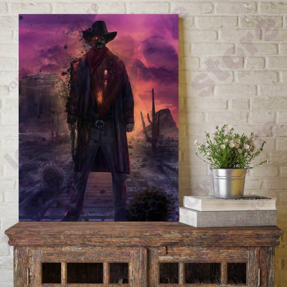 Abstract Zombie Cowboy Skull Skeleton Cool Canvas Painting for Dining Room Hallway Wall Decor Purple Artwork Portrait Retail Art in Painting Calligraphy from Home Garden