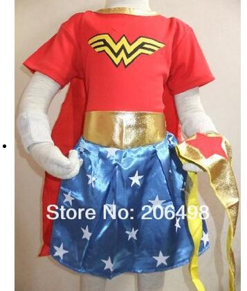 3-7 years Party decoration chrismas short sleeves Wonder woman superman skirt Cosplay & (shawls+scarf+wristbands)