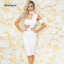 Seamyla New Sexy Winter Dress 2017 Women Bodycon Bandage Dress White Nude Black Blue Vestidos High Neck Evening Party Dresses