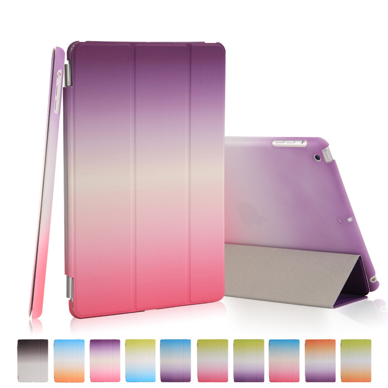 For ipad mini 2 3 retina Case Rainbow PU Leather Ultra Slim magnetic Smart cover auto sleep + hard pc back shell pu leather ebook case for kindle paperwhite paper white 1 2 3 2015 ultra slim hard shell flip cover crazy horse lines wake sleep