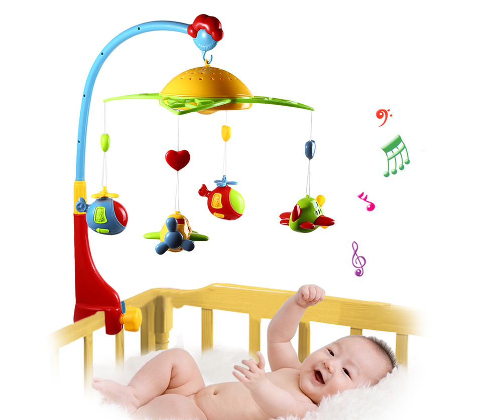 Hot Sale 360 Degrees Rotating Baby Rattles Baby Musical Star Projector Hanging Bell Crib Rattle Toy Music Light Flash Bed Ring soft infant crib bed stroller toy spiral baby toys for newborns car seat hanging bebe bell educational rattle toy for gift