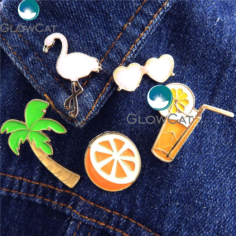 GLOWCAT 21844 Beach Summer Coconut Trees Flamingos Orange Juice Sunglasses Button Collar Clothes Hat Badges Needle Pin Brooch
