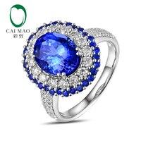 Caimao 8x10mm Oval Cut 3 15ct Tanzanite Halo Pave Diamonds 14K White Gold Engagement Ring Free