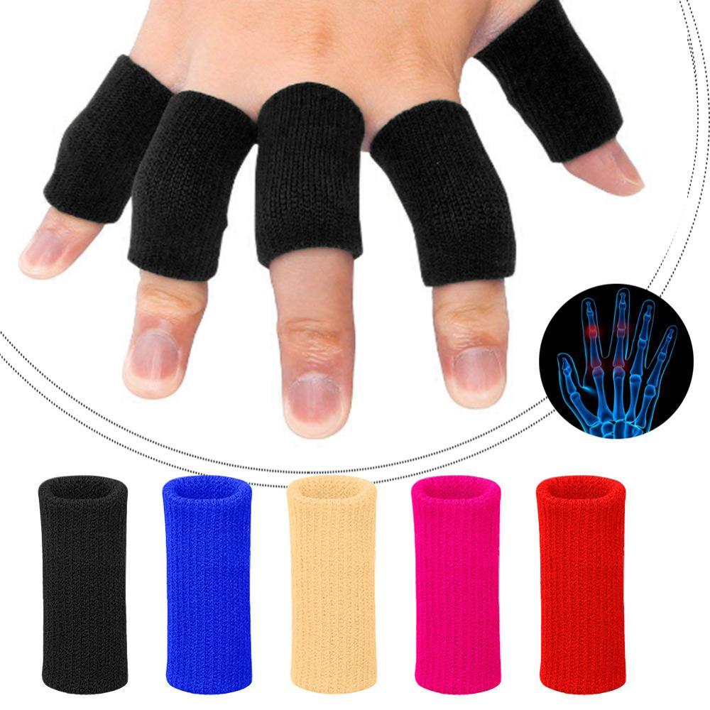 10Pcs Safety Finger Sleeves Gloves For Thumb Splint Brace Arthritis Breathable Elastic Finger Tape For Basketball Volleyball Hot