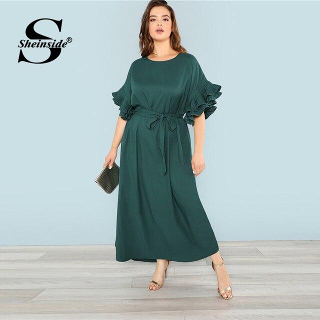 d94f5fcd4d Sheinside Plus Size Green Pleated Ruffle Detail Dress Women 2019 Spring  High Waist Belted Dresses Ladies Solid Maxi Dress