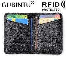 GUBINTU бренд человек из натуральной коровьей кожи мужские держатели для кредитных карт Деньги Доллар клип кошелек ID карман для мужчин