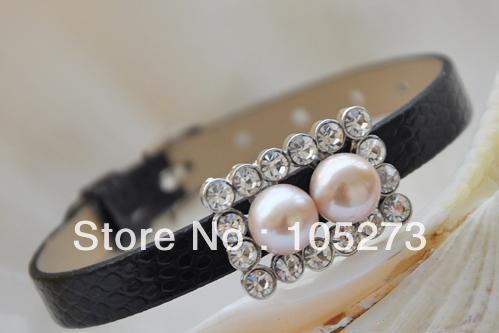 Atacado pérola jóias 6 - 8 '' 9 MM rodada água doce da pérola pulseira de couro preto pulseira rosa moda estilo New envio gratuito