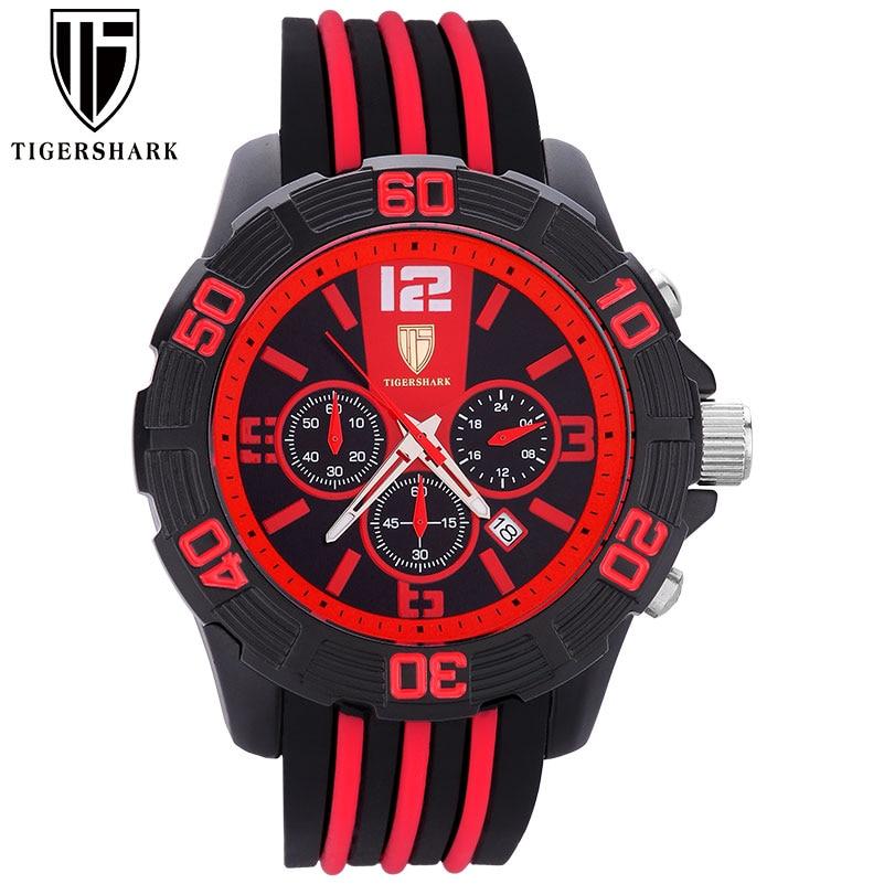 men sport watches TIGERSHARK brand men quartz watch chronograph auto date waterproof wristwatch with gift box Relogio Masculino