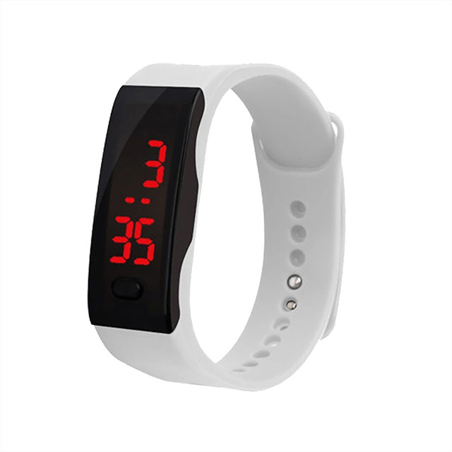 Genvivia Bracelet Watches White LED Electronic Digital Candy Color Silicone Wrist Watch for Children Kids #w20