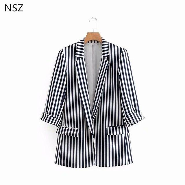 b6129ab8c € 21.58 |NSZ mujeres rayas Blazers Chaquetas blancas y negras ninguno botón  Blazer Femenino en chaqueta de deporte de Ropa de mujer en ...