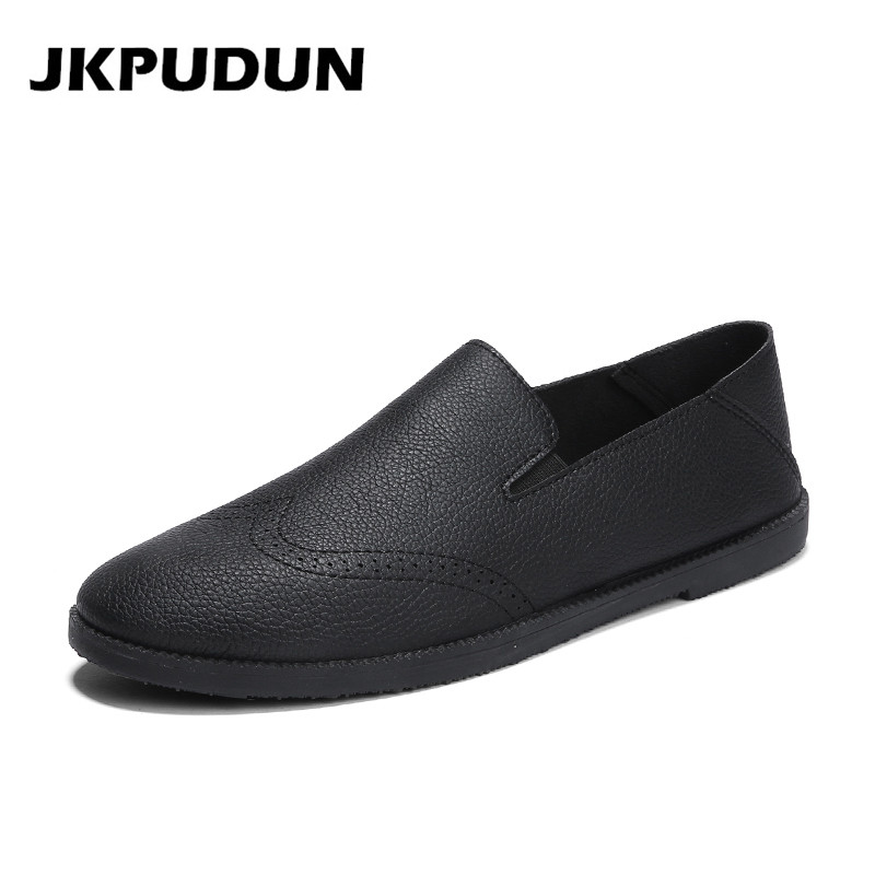 JKPUDUN Summer Mens Brogue Shoes Casual Leather Luxury