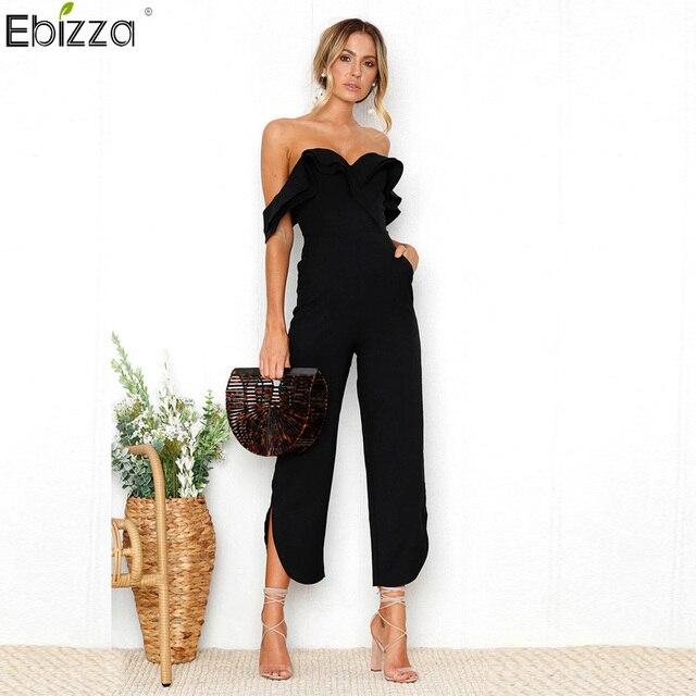 4c2548d3afd Ebizza Sexy Off Shoulder Backless Jumpsuit Women Tiered Ruffle High Waist  Pocket Jumpsuit Romper Split Black