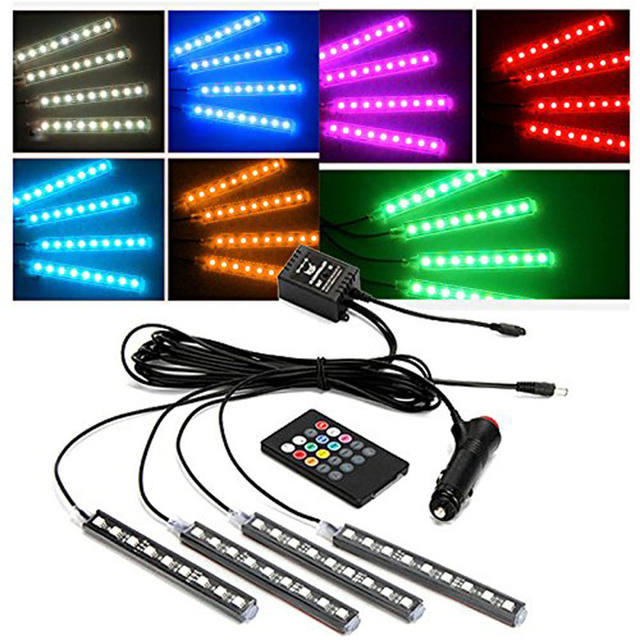 kongyide Car Light 4x 9LED 5050 SMD Remote Control Colorful RGB 30W 12V Car Interior Floor Atmosphere Strip Light dropship f26