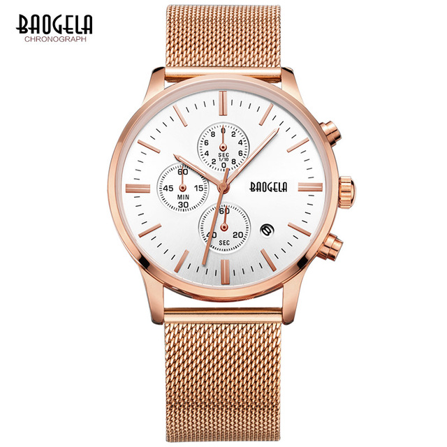 Relogio Masculino 2018 New Brand BAOGELA Luxury Business Rose Gold Stainless steel mesh Band sports Quartz Watch Hot Sale Chasy hot sale fashion stainless steel rose gold