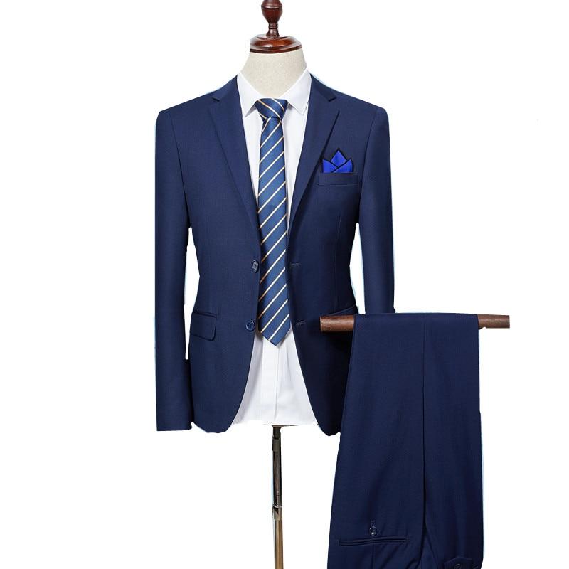 Gauche ROM (vestes + pantalons) hommes automne qualité slim Fit haut de gamme costume d'affaires/mâle couleur pure la robe de marié/costume masculin deux pièces