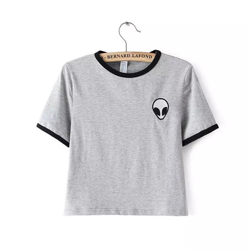 New Fashion Alien Embroidery Short Style Women T Shirts O Neck Short Sleeve font b Tees