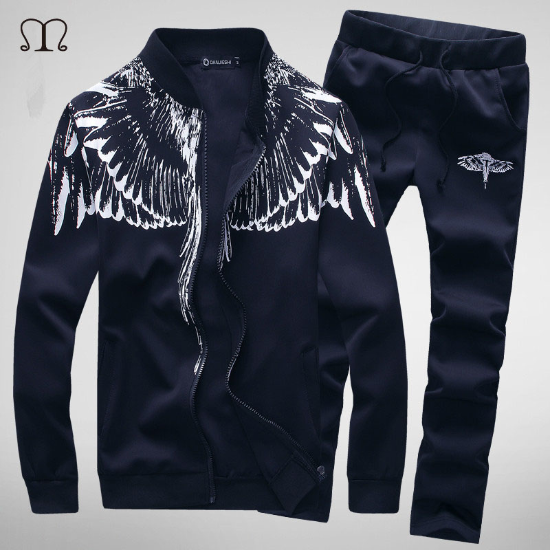 Herren Winter Casual Wing Print Sportanzug Set Hoodies Sweatshirt Hip - Herrenbekleidung - Foto 2