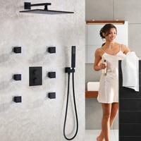 Матовый почерневшие Ванная комната смеситель для душа Установить Современная 12 дюймов дождь Насадки для душа термостатический смеситель к