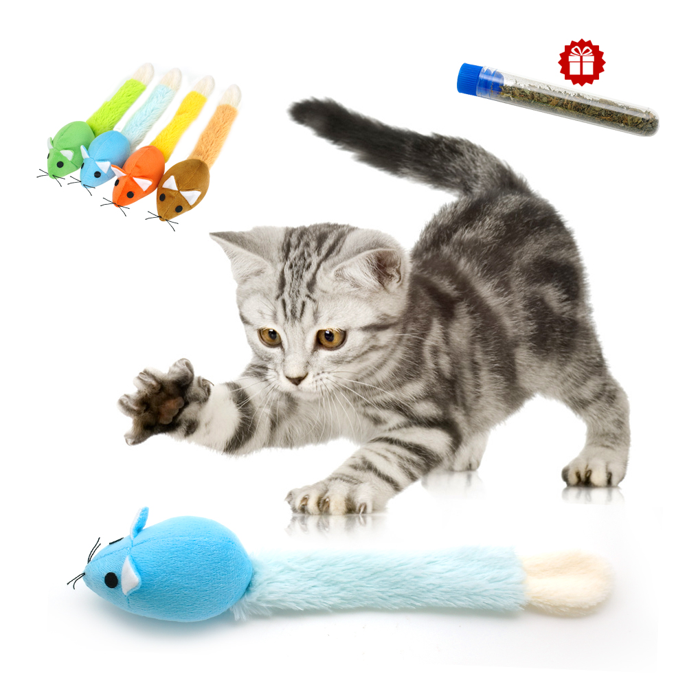 Funny False Mouse Cat Toys Chew Plush Catmint Pet Cat Toy With Free Catnip For Cats Kitten 4 Colors