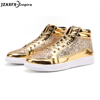 2018 New Fashion Gold Shoes Men Casual Shoes High-top Night Club Sneaker Male Lace-up Sequins Rock Shoes zapatos hombre