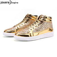 2018 New Fashion Gold Shoes Men Casual Shoes High top Night Club Sneaker Male Lace up Sequins Rock Shoes zapatos hombre
