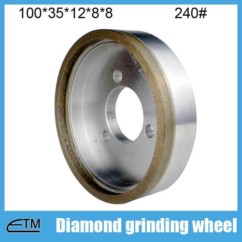 10pcs 3# full rim glass edging wheel metal bond diamond abrasive wheel 100*35*12*8*8 grit 240# BL013  цены