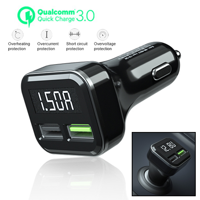 Car-Charger Cigarette Lighter Socket-Display 12-24V QC3.0 USB Ce 2-Port Appearance Dual-Usb