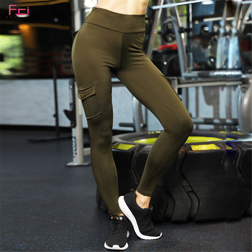 09a78fe0138c8 FRECICI Women Skinny Cargo Pants Push Up High Waist Both Side Pocket  Leggings Hip Pocket Booty Leggings Workout Sporting Pants | My Shop Name