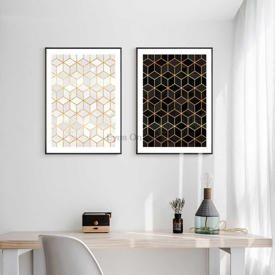 Nordic Geometric Cube Art Posters and Prints Wall Art Canvas Painting Wall Pictures For Living Room Abstract Modern Home Decor