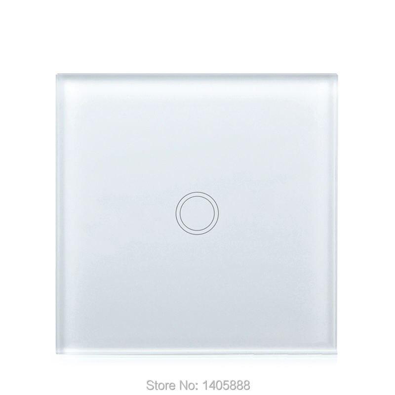 ФОТО EU Standard Touch Lighting Switch 1 Gang 1 Way,Wall Light Touch Screen Switch,Crystal Glass Switch Waterproof Panel,Wall socket