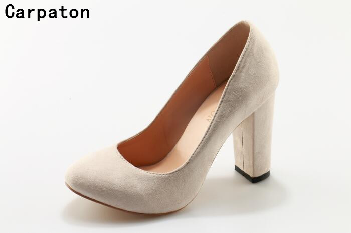 Carpaton women beige high heel shoes round toe high thick heel shoes sxey pumps ladies slip
