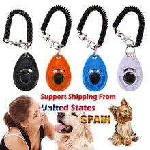 1 шт., тренировочный кликер для кошек и собак, пластмассовый клик для собак, тренировочный тренажер, слишком регулируемый ремешок на запястье, звуковой брелок для ключей, свисток для собак