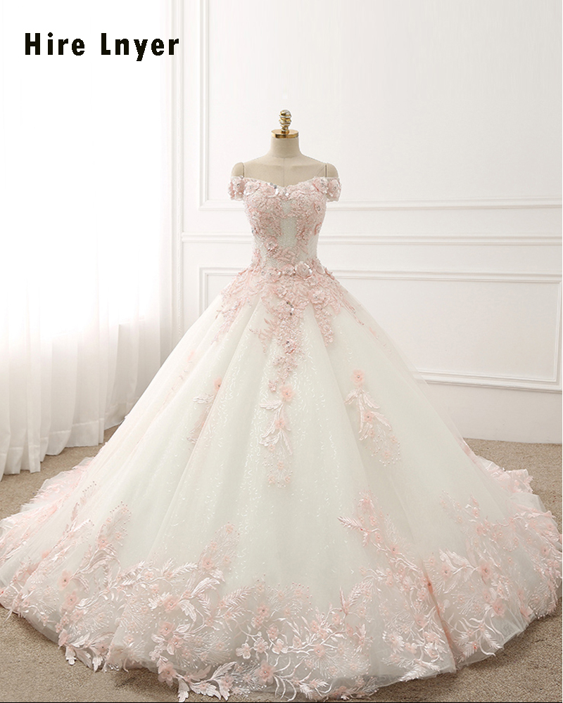 Princess Light Pink Lace Wedding Dress With Off The: NAJOWPJG Off The Shoulder Short Sleeve Lace Up Princess