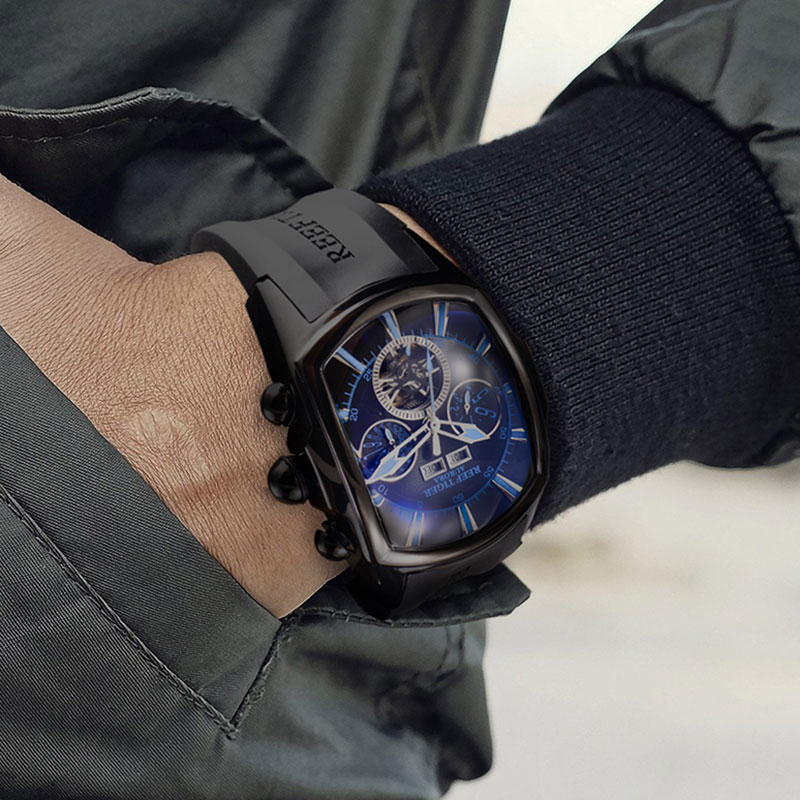 Reef Tiger/RT Top Brand Luxury Big Watch for Men Blue Dial Mechanical Tourbillon Sport Watches Relogio Masculino RGA3069