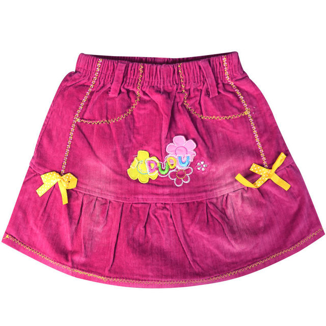 Girl's Pink Floral embroidery pattern mini corduroy Skirts with yellow bows elastic waistband ZQ-8127