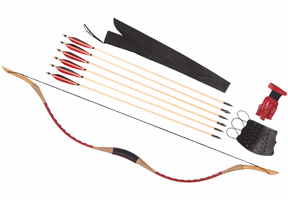 LongbowMaker Red Ali Bow Traditional Handmade Hungarian Longbow Hunting Recurve 6 Wooden Arrows Finger+Arm Guard 20-110lb longbowmaker handmade red pigskin kids bow archery hungarian style longbow for beginner 10 25lbs prp