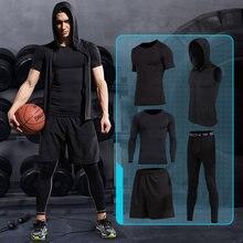 2017 Новый сжатия мужские спортивные костюмы нижнее белье быстро сухой работает комплектов одежды колготки Баскетбол тренажерный зал FitnessTraining костюмы