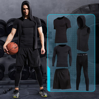 2017 New Mens Compression Sports Underwear Suits Quick Dry Running Sets Clothes Basketball Tights Gym FitnessTraining