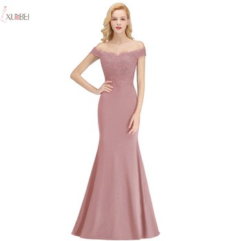 Long Mermaid Evening Dress Elegant Sleeveless Pink Formal Gown Lace Applique Off The Shoulder robe de soiree 2020 2019 mermaid long evening dress off the shoulder applique evening gown robe de soiree