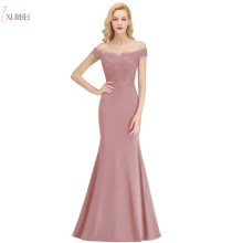 Evening-Dress Formal-Gown Mermaid Elegant Pink Long Sleeveless Lace Applique Off-The-Shoulder-Robe-De-Soiree
