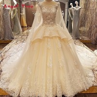 Angel Tree Luxury Wedding Dress Models Lace Ball Gown Corset Back Wedding Gowns 2018 With Long