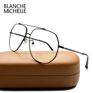 Image 3 - ステンレス鋼青色光メガネ女性男性 UV400 眼鏡フレームクリアメガネフレーム光学式ゴールド眼鏡メガネとボックス Glasses Women glasses Men glasses frame
