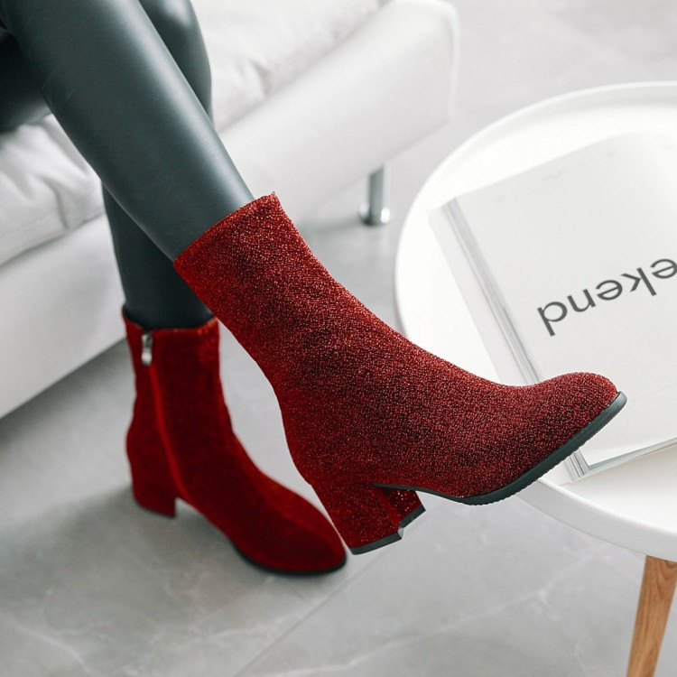 Date Chaussures gris De Rond Femmes Stretch Noir Taille Bureau Haute Talons Cheville 43 Bottes Mode Chaude Plus rouge Bout Dames La marron 34 Courte Pxelena Carré nxwUAqPS1Z