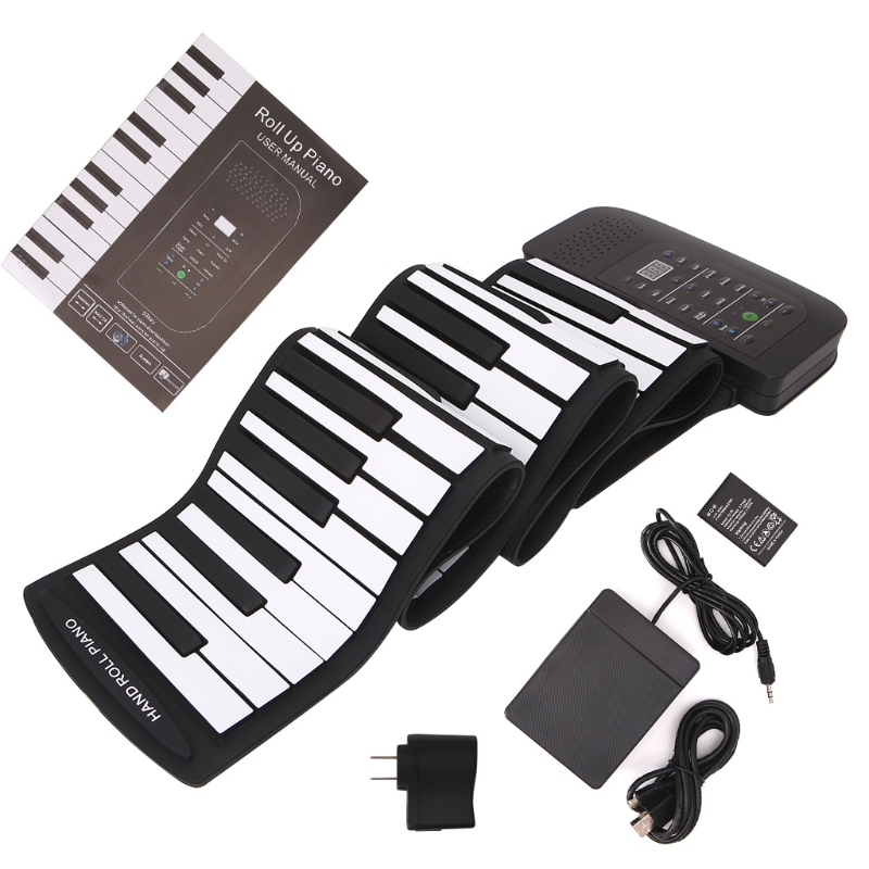 Portable 88 Keys Keyboard Piano Silicone Flexible Roll Up Piano Foldable  Keyboard Hand-rolling with Battery Sustain Pedal