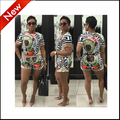 crop top and hot pant set 2 piece set women pant and tshirt top summer 2016 short sleeve print sexy clothing ladies bodycon